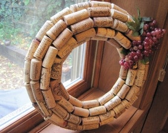 PICK YOUR COLOR! Wine cork wreath with red or purple grapes