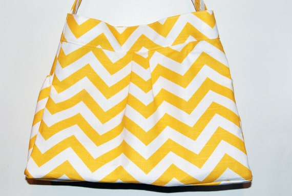 Girl or Boy Diaper Bag in Yellow and White CHEVRON with GRAY lining