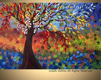 Painting Print on Canvas SEASONS Giclee Embellished Canvas Abstract Fantasy Tree Landscape Art by Luiza Vizoli