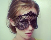 Dramatic Black Lace Face Mask or Headband Perfect for Masquerade Celebrations - 50 Shades of Grey Lace Mask Blindfold - 50 Shades of Grey SM
