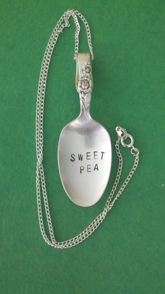 SWEET PEA Spoon Necklace Vintage Demitasse Silverplated Spoon Jewelry