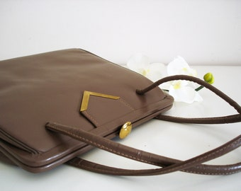 Vintage 70s leather handbag/ taupe/ hot cocoa chocolate/ genuine leather lined purse/ Made in USA