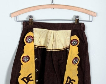 vintage girls cowgirl skirt brown yellow conchos