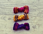 knit bow pin brooch pink purple and yellow - set of 3