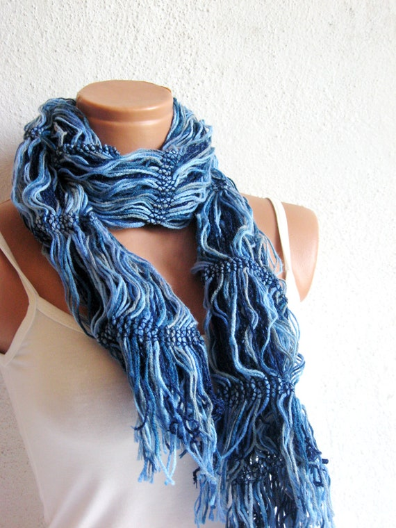 Blue White Yarn Scarf, Hand made unique womens scarves... Woman Style Store Experience with the difference