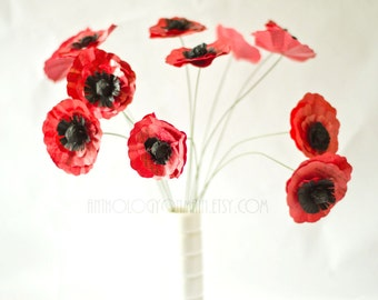 Book Page Poppies Bouquet - One Dozen Paper Flowers - Eco Friendly Upcycled Single Stem Anemones