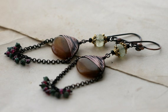 Aphrodite earrings-Exotic, Wire Wrapped,Embroidery,Chocolate,Rustic,Mixed Metals Chandellier,Unusual,Green,Tribalis,Chocolate