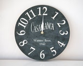 Clock -Casablanca- pseudo vintage birch clock hand painted by black color blackboard style