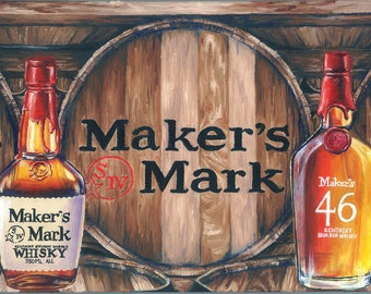 Makers Mark Inspired Oil Painting Print; wall art, decor, man cave, stock the bar, hostess gift, bourbon, kentucky, whiskey, barrel, wedding