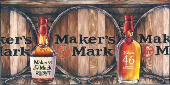 Makers Mark Inspired Oil Painting Print By Turnerstudio84