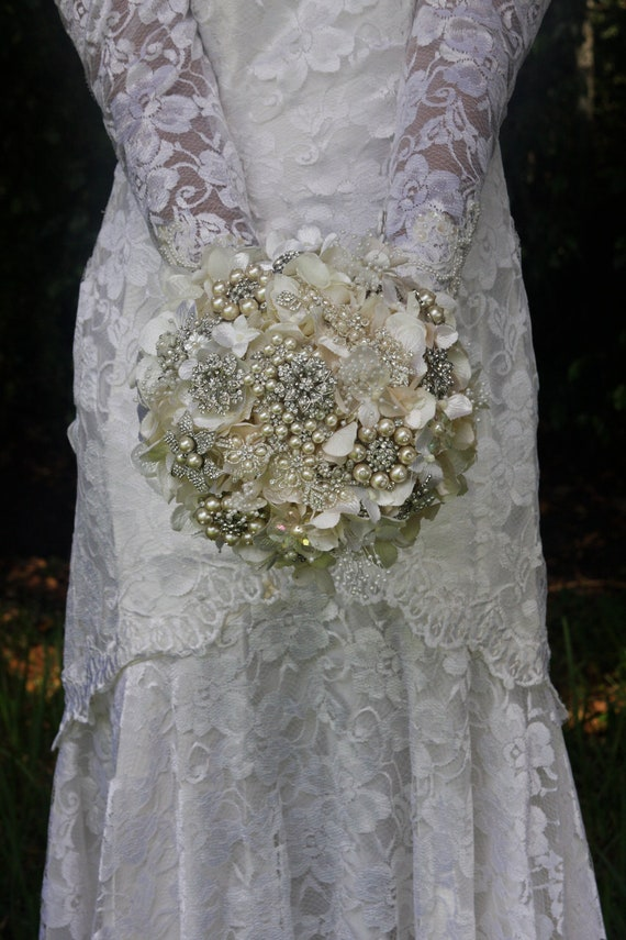 brooch bouquet with  vintage inspired rhinestone brooches and pearl brooches and ivory silk hydrangeas timeless keepsake and wedding gift