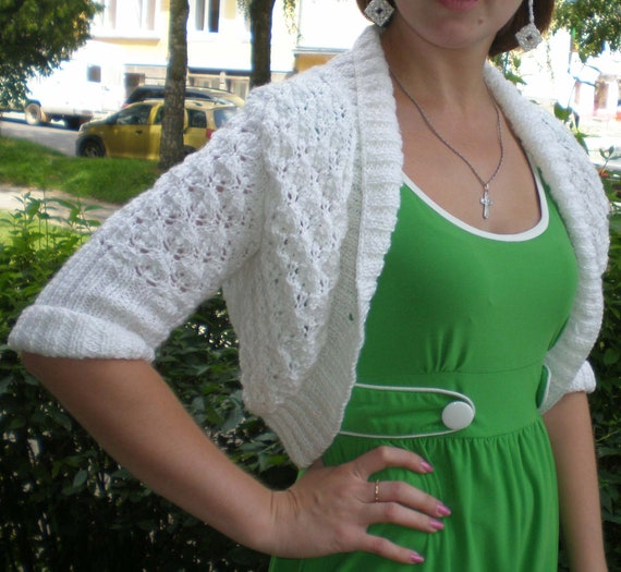 Bolero knitted white spokes with long sleeves 3 / 4