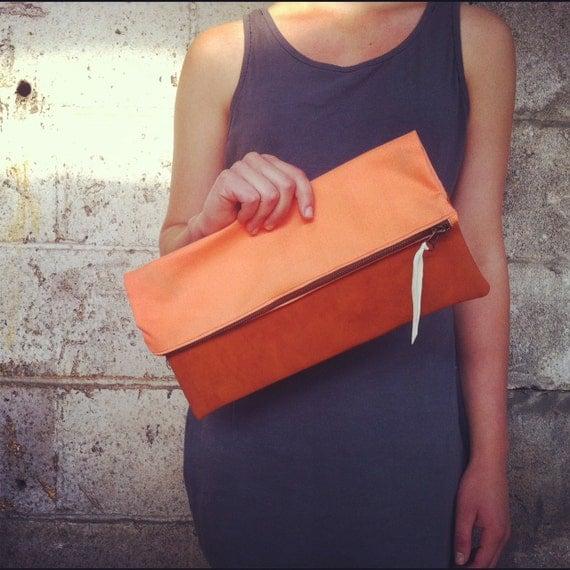 Peach Rustic Fold Clutch