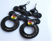 Black soutache and crystal earrings