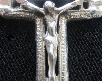 Vintage 1950s Hand Carved Mexico Sterling Silver Chain and Crucifix CHRISTMAS SALE FROM 58.00
