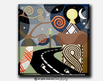 """Original Highway Acrylic Painting on Canvas  - The Bold Step  - 24"""" X 24"""""""