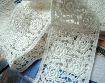 Cotton Embroidery Lace Trim White Floral Rose Garden Scallop Bridal Lace Wedding Decor Accessories Vintage Style