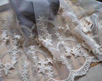 ivory Embroidered Stars lace, cotton lace trim