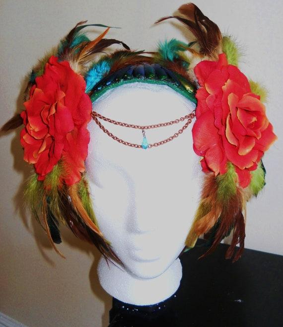 Samoa Floral & Feathers Tribal Headdres