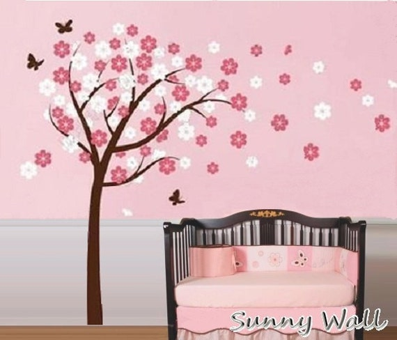 Items similar to cherry blossom vinyl wall sticker wall for Cherry blossom tree mural
