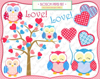 Owls Clipart Love Owls Clipart Baby Girls Clipart, Owls Hearts Pink and Light Blue Owls - Personal and Commercial Use - 1363