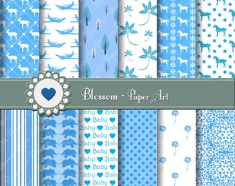 Baby Boy Digital Papers Light Blue Digital Paper Pack, Scrapbooking Paper, Baby Boy Scrapbooking Paper - 1399