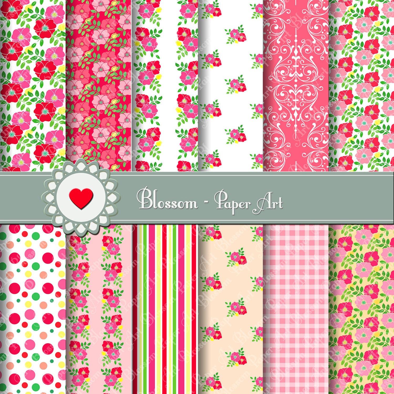 Papel para imprimir floreado rojo rosa estampado - Papeles para decorar ...