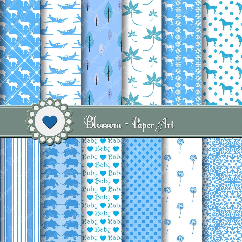 Scrapbook paper baby - Baby Boy Digital Papers Light Blue Digital Paper Pack Scrapbooking Paper Baby Boy Scrapbooking Paper 1399