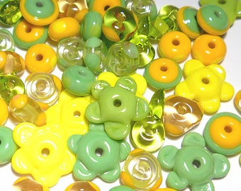 LEMON LIME MIX - Handmade Glass Lampwork Beads - Lemon Yellow Lime Green Melon - Set of 20