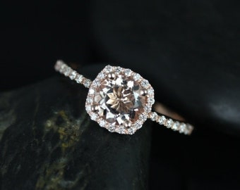 Barra 6mm 14kt Rose Gold Morganite and Diamonds Cushion Halo Engagement Ring (Other metals and stone options available)