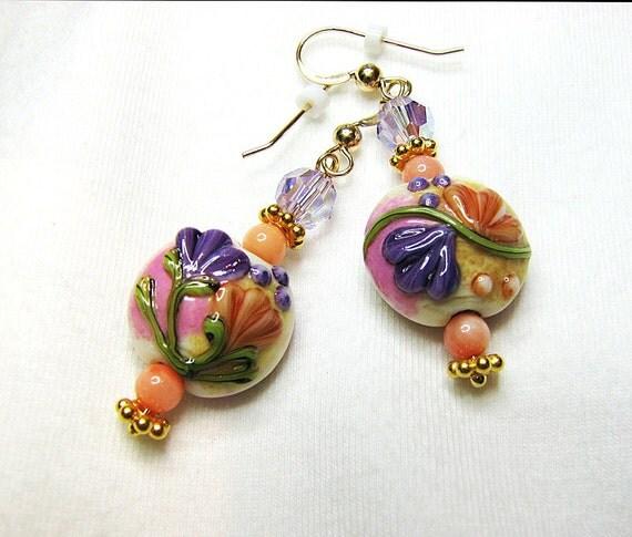 Purple floral beaded earrings Lampwork glass bead and angel skin coral earrings Romantic drop dangle earring Beaded jewelry