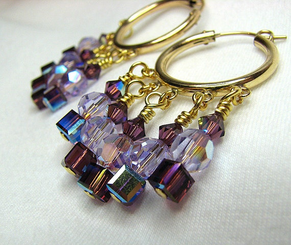 Gold hoop earrings Purple lavender Swarovski crystal earrings Pierced dangle earrings Beaded earrings Bohemian gypsy beaded jewelry