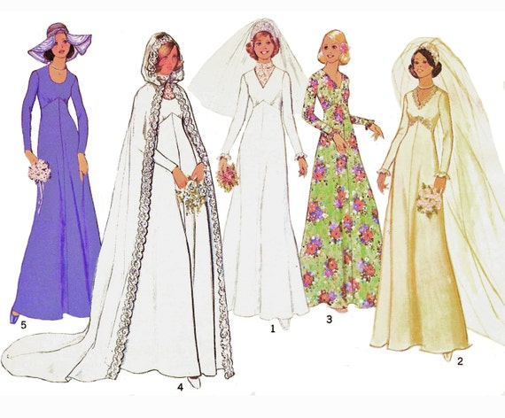 "1975 High Waisted Wedding Gown or Bridemaid Dress, Neckline Variations, Goth Inspired Hooded Cape, Dickey, Simplicity 7284, Bust 34"", Uncut"