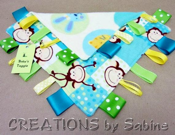 Tag Blanket Toy, Baby Taggie Blanket, Lovie, Sensory Blankie, Monkey, Frog, Rabbit, Bunny, turquoise, green, yellow