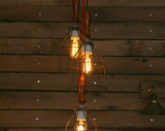 3 Wood Handle Cage Light Chandelier - Industrial Hanging Pendant Light with Vintage Style Wire Cage Guard and Wooden Handle  - Hanging Lamp