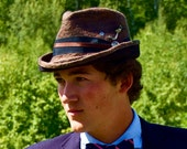 Men's fedora hat - eco-friendly steampunk gift for him.  Brown gray hand-felted wool and watch gears, by Swan and Stone