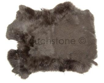 Genuine Rabbit Skin - Dark Brown Fur # 22-260505