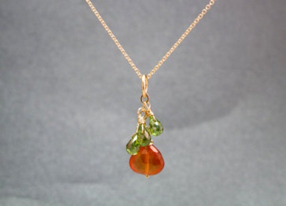 Peridot briolettes linked with mandarin garnet Necklace 316