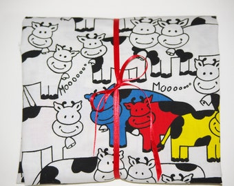 Pack n Play Sheet - Fitted Cotton Playard Sheet -  Retro Primary Color Cows