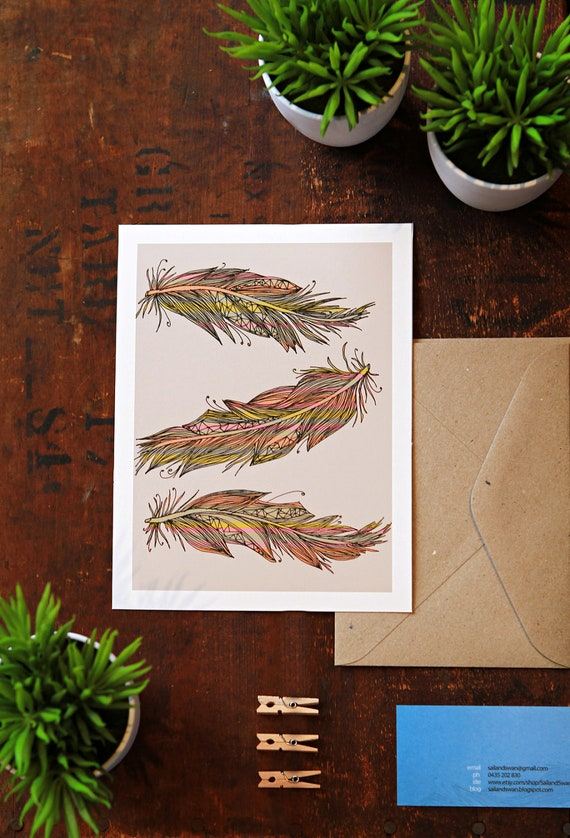 7x5 Giclee Art Print - Original Drawing of Three Feathers