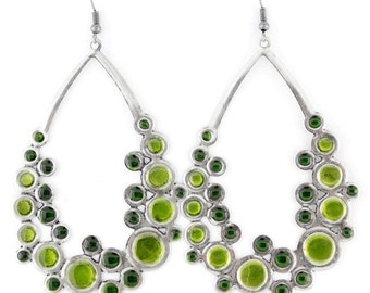 Simple Silver-tone Green/Red/Blue Round Bubble Plate Dangle Drop EARRINGS