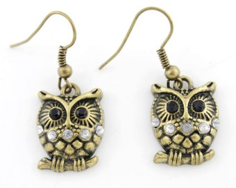 Exquisite Vintage Retro Anti-brass OWL Drop Earrings,G1