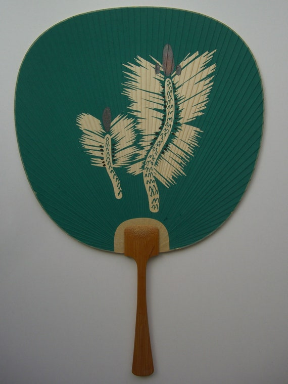 Paddle fan bamboo and paper vintage japanese - Japanese paddle fan ...