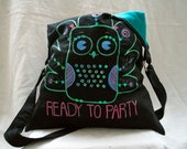 Black linen tote bag with acrylic owl painting