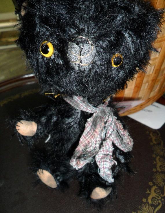 STB Bears Kuro kuma Mohair Handmade Teddy Bear by Shinko Bishop Tags Stuffed