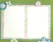 Premade Scrapbook Page Green Flowers, 12x12