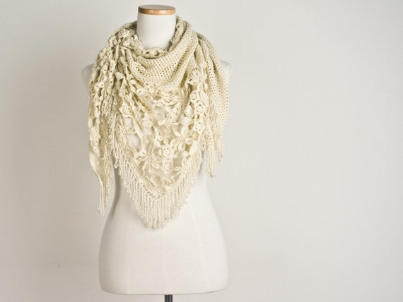 Triangle Scarf with Beaded Fringes - Crochet Merino Wool Scarf in Beige  - Made to Order
