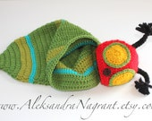 CATERPILLAR BABY COSTUME -  hat and cocoon - wool/ acrylic - photo prop - Made To Order