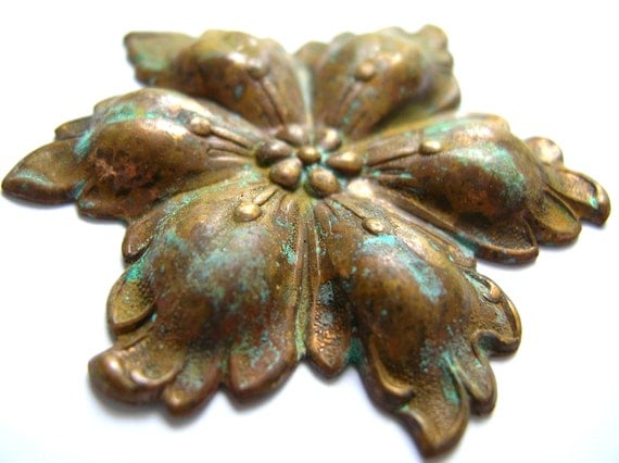 Oxidized brass flower findings lot,stamping, jewelry supply,destash,scrapbook