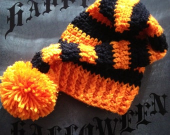Private listing for Kristine: Halloween Striped Crochet Hat with Ball
